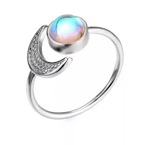 ARRIVED Open Crescent Moon and Faux Moonstone Ring